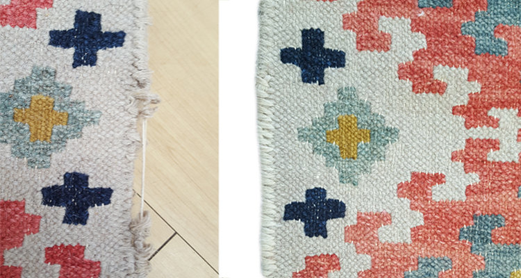 Kilim selvedge repair