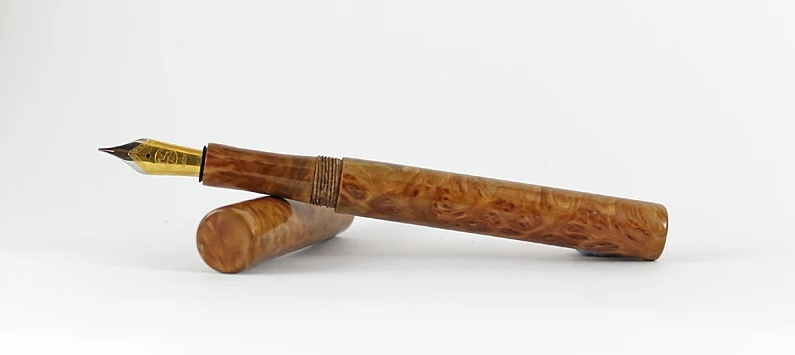 Wooden custom fountain pen by Brad Herrington - made from Silver Gimlet with Bock size 6 nib