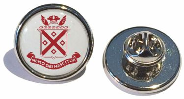 Round metal pin badges