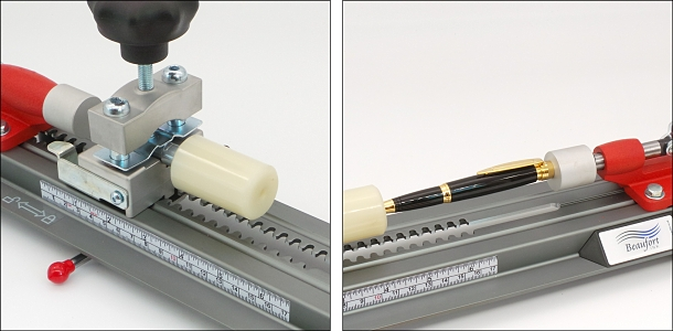 Gently place the pen component into the turned and finished tube, hold the two against the Spring Loaded Buffer, and slowly operate the Piston Buffer to press the component into the tube