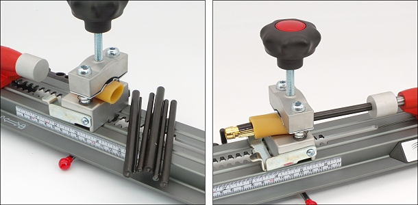 Place the pen inside the cut length of Gripping Tube, and clamp it in the Sliding sled. Insert the appropriate Disassembly Rod and gently operate the Piston Buffer to exert pressure on the Rod, to press out the component.