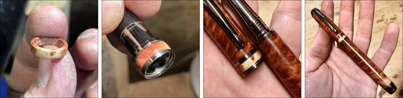 A Mistral fountain pen in red mallee burr with matching red mallee burr accents - turning and images by Neil Davidson
